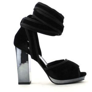 Velour Ankle Wrap Block Heels